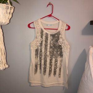 American Flag Tank - Gray & Cream